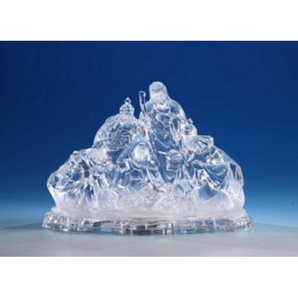 """Pack of 2 Icy Crystal Illuminated Religious Christmas Nativity Figurines 8"""" - CLEAR"""