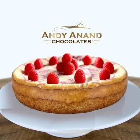 "Andy Anand Fresh Raspberry Swirl Cheesecake 9"" 3 lbs & Greeting Card"
