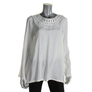 Studio M Womens Blouse Embroidered Long Sleeves