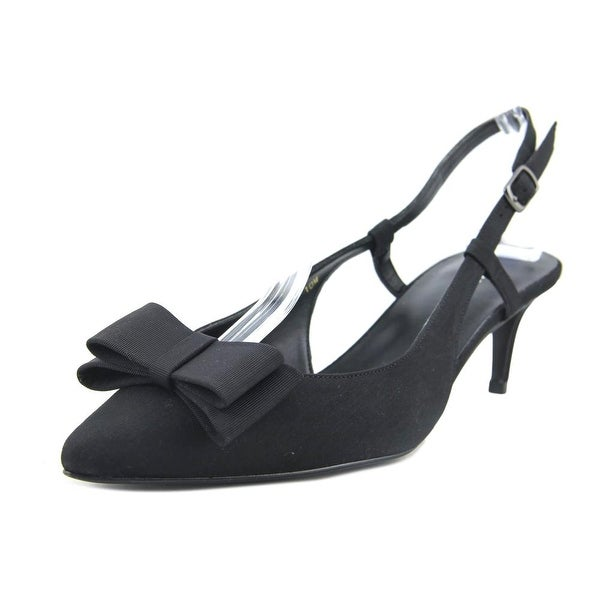 Vaneli Thais Women Pointed Toe Canvas Black Slingback Heel