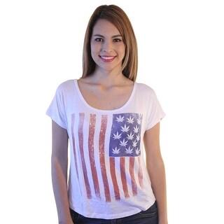 Devine 79 America Flag Pot Women's White T-shirt