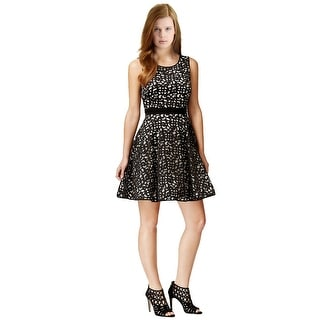 Xscape Laser Cut Fit & Flare Sleeveless Cocktail Party Dress