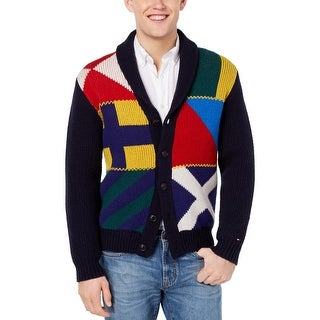Tommy Hilfiger Mens Cardigan Sweater Wool Blend Harbor