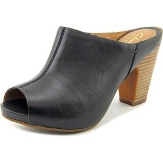 Clarks Artisan Okena Chic Women Open-Toe Leather Black Mules