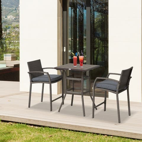 Outsunny 3 Piece Outdoor PE Rattan Wicker Patio Conversation Table Set with 2 Chairs & 1 Center Coffee Table