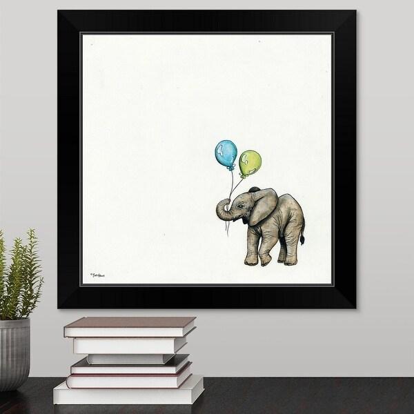 """Nursery Elephant"" Black Framed Print"