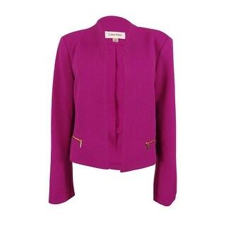 Calvin Klein Women's Petite Long Sleeve Open Front Blazer - zinnia