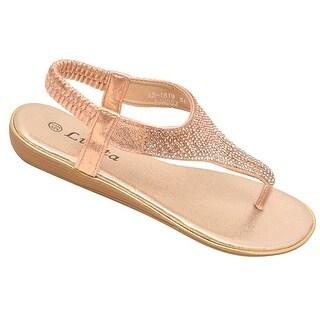 Lucita Adult Champagne Sparkle Rhinestone Flip Flop Sandals