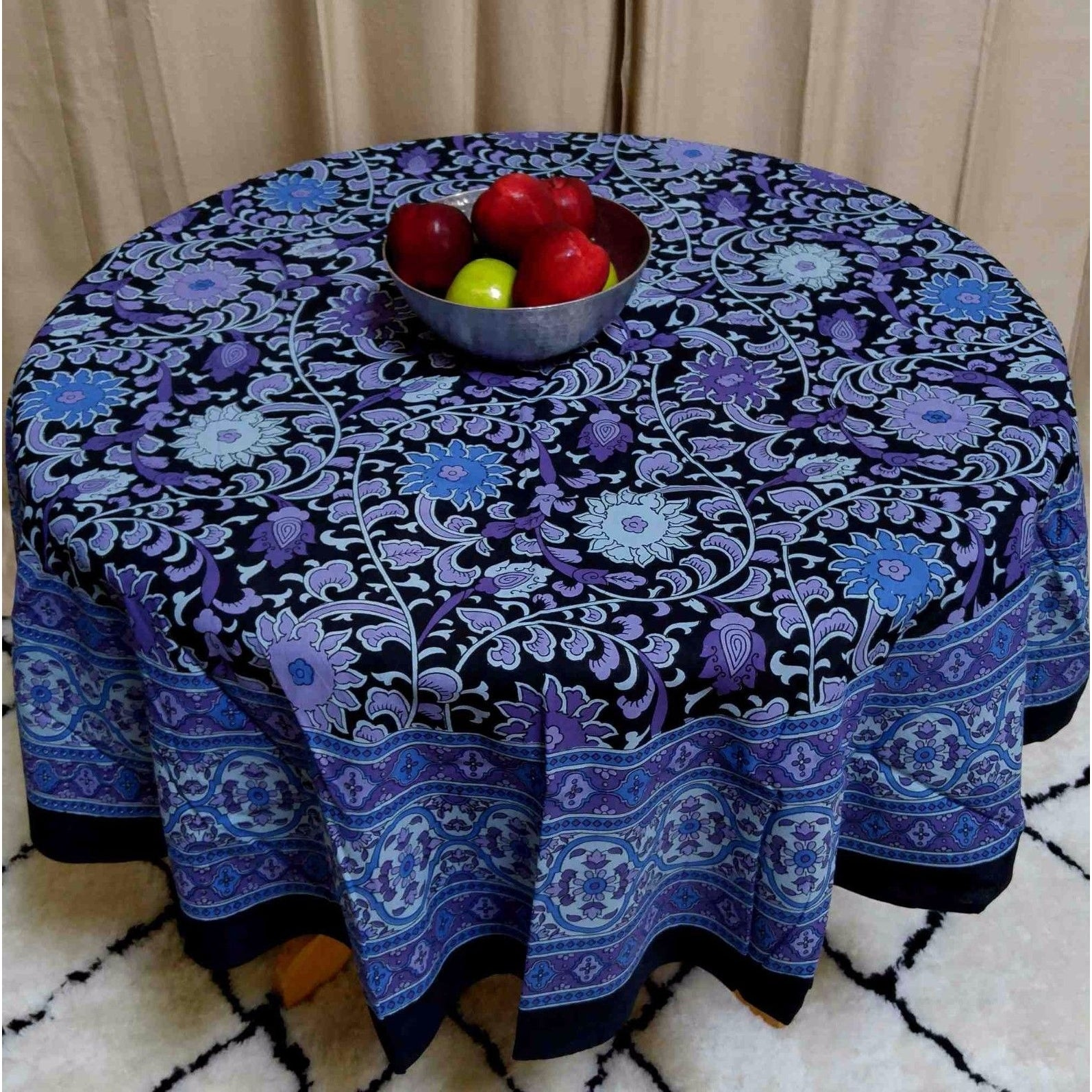 "Handmade Sunflower Print 100% Cotton Tablecloth 60""x60"" Square & 66"" Round in Two shades - Yellow Black & Blue Black - Thumbnail 5"