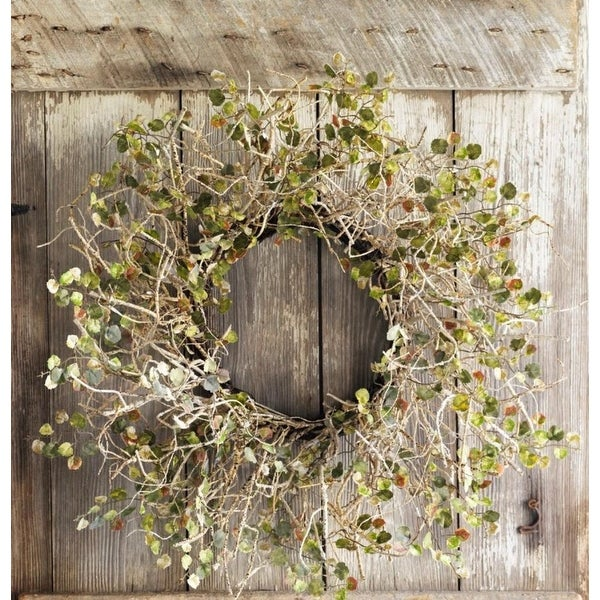 Pack of 2 Decorative Olive Birch Branch Wreath with Mini Leaves - brown