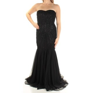 Adrianna Papell Black Womens Size 8 Mermaid Embellished Gown Dress