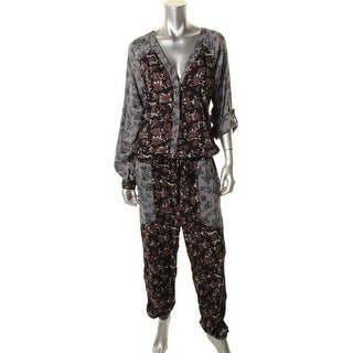 Free People Womens Floral Print Drawstring Jumpsuit - S