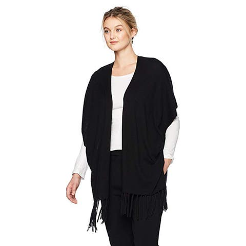NYDJ Women's Sweater WRAP with Fringe, Black, L/XL