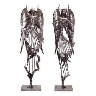 Set of 2 Gunmetal Serene Flowing Angels with Musical Instruments and Exquisite Wing Detail 41