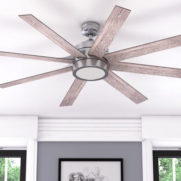 Honeywell Xerxes Brushed Nickel LED Remote Control Ceiling Fan, 8 Blade, Integrated Light - 62-inch. Opens flyout.