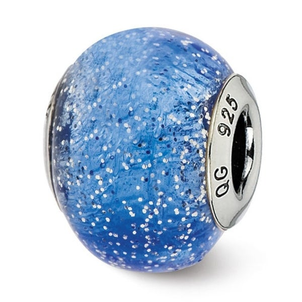 Italian Sterling Silver Reflections Blue with Silver Glitter Glass Bead (4mm Diameter Hole)