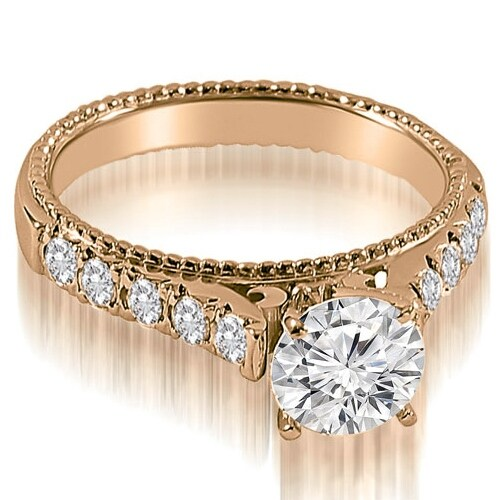 1.50 cttw. 14K Rose Gold Vintage Cathedral Round Cut Diamond Engagement Ring
