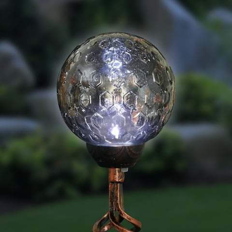 Exhart Solar Pearlized Honeycomb Glass Ball Garden Stake with Metal Finial, 4 by 31 Inches
