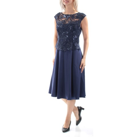 ADRIANNA PAPELL Womens Navy Embroidered Sequined Cap Sleeve Jewel Neck Midi A-Line Party Dress Plus Size: 16W