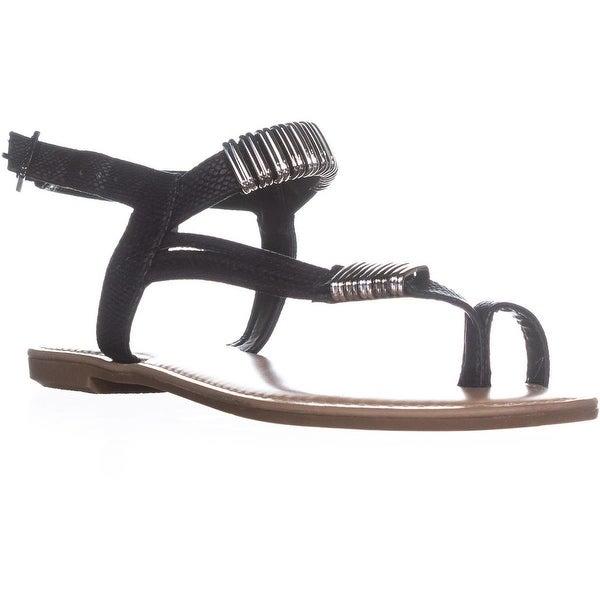 B35 Vera Glitter Toe Ring Flat Sandals, Black