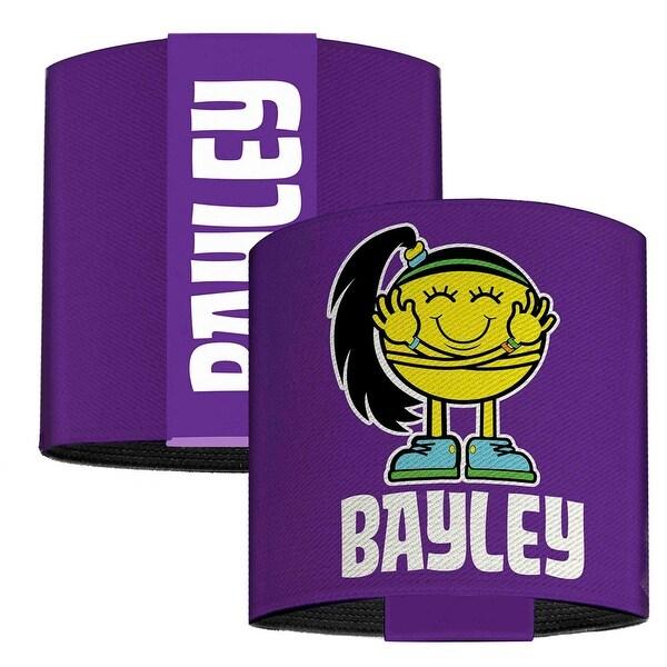 Bayley Hugger Caricature Purple White Elastic Wrist Cuff