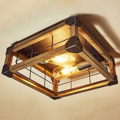 "2 Light Farmhouse Flush Mount Ceiling Light - 12.97""x12.97""x5.83"""