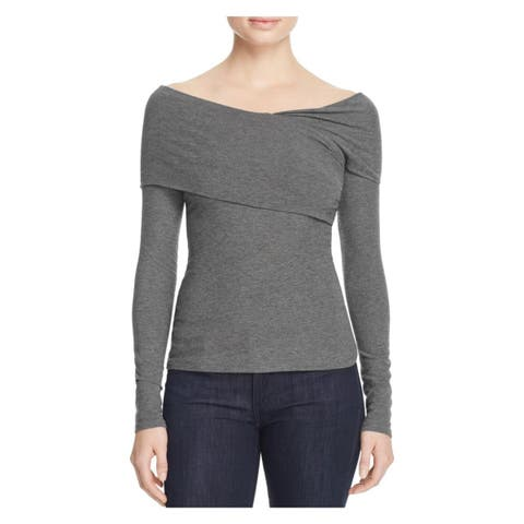 Theory Womens Casual Top Heathered Asymmetric Neckline