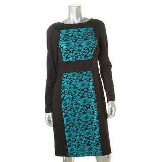 Plenty Dresses Tracy Reese Womens Mesh Inset Mixed Media Wear to Work Dress