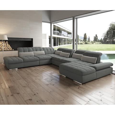 Barcelona 6 pc Right Arm Chaise Grey Sectional with storage and Sofa bed By Sofacraft