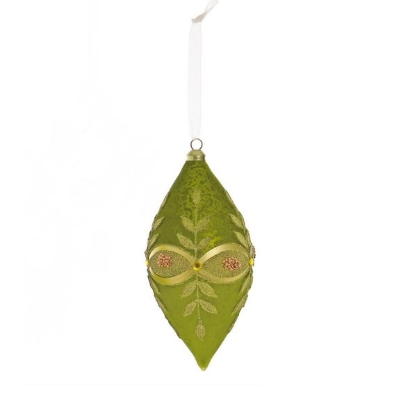 """6.5"""" Avocado Green and Gold Beaded Glass Drop Christmas Ornament"""