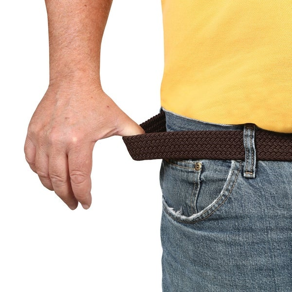 Men's Flexy Stretch Belt - Elastic Woven Braided - Silver Buckle