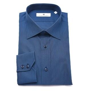 Pierre Balmain Men Slim Fit Cotton Dress Shirt Solid Royal Blue