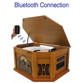 8-in-1 Boytone BT-25PW with Bluetooth Connection Natural wood Classic Turntable Stereo System, Vinyl Record Player, AM/FM, CD