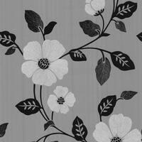 Brewster 347-67323 Sayles Black Modern Poppy Floral Wallpaper