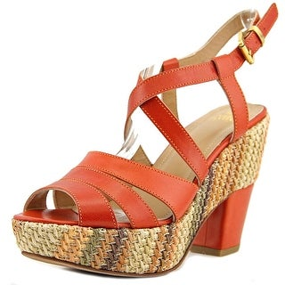 Enrico Fantini Luna 452 Women Open Toe Leather Orange Platform Heel