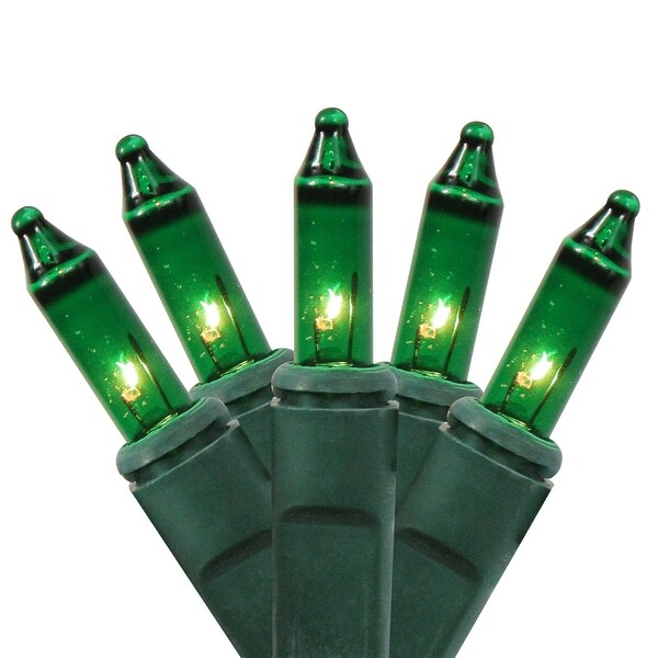 4' x 6' Green Mini Net Style Christmas Lights - Green Wire