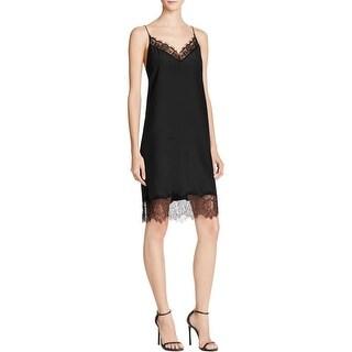 Lucy Paris Womens Slip Dress Lace Trim Sateen
