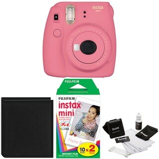 Fujifilm Instax Mini 9 Flamingo (Pink) w/ Photo Album & Film Bundle