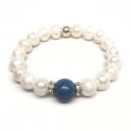 Freshwater Pearl & Blue Jade 'Joy' stretch bracelet 14k Over Sterling Silver