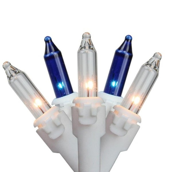"""Set of 100 Blue & Clear Mini Icicle Incandescent Christmas Lights 3"""" Spacing - White Wire"""
