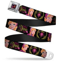 Frozen Tulip Full Color Black Pink Red Orange Anna Poses Anna Monogram Seatbelt Belt