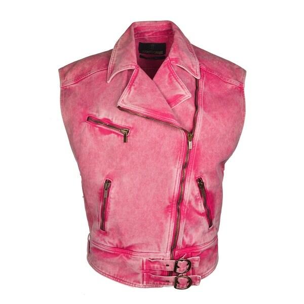 Shop Roberto Cavalli Womens Pink Denim Cotton Vest Jacket - Free ... 89bd81742