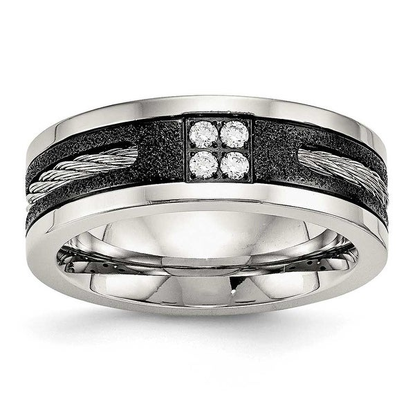 Stainless Steel Polished Laser Cut Blk IP Wire Inlay CZ Band Ring (8 mm) - Sizes 7 - 13