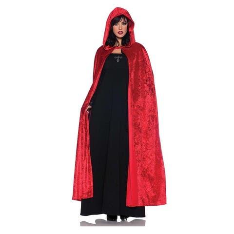 """55"""" Hooded Red Velvet Vampire Cloak Adult Costume Accessory"""
