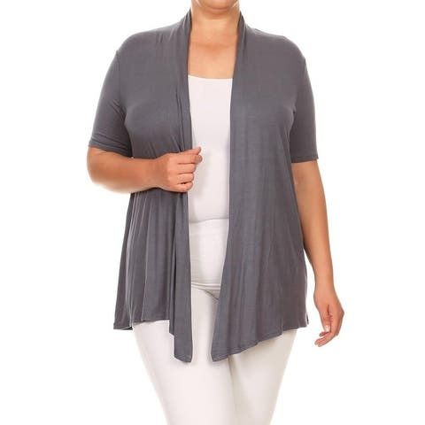 Women's Solid Plus Size Short Sleeves Sweater Cardigan