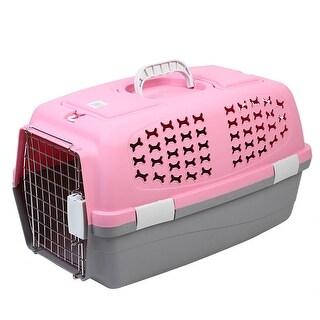 Travel Portable Plastic Transport Cages Airways Box Pet Carrier Pink 59x38x38cm