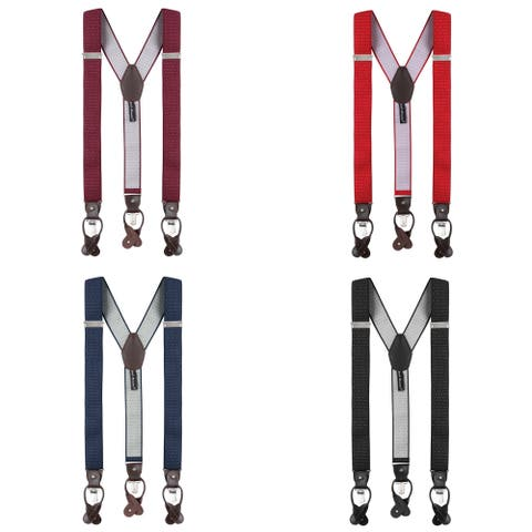 Jacob Alexander Men's Small Dots Y-Back Suspenders Braces Convertible Leather Ends Clips