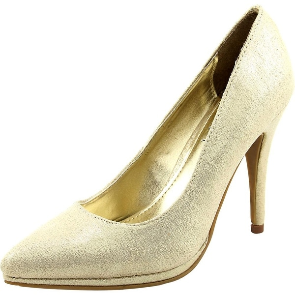 Mari A. Gala Women Pointed Toe Canvas Gold Heels