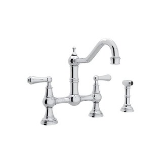 Rohl U.4756L-2 Perrin and Rowe Bridge Kitchen Faucet with Side Spray and Metal Lever Handles