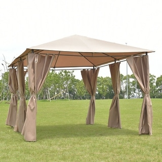 Costway Outdoor 10'x13' Gazebo Canopy Tent Shelter Awning Steel Frame W/Walls Brown